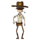 Karikatursheriff mit Revolver. Wilder Westen. Vektor Stockbild