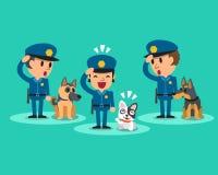 Karikatursicherheitsbeamtepolizisten mit Schutzhunden Lizenzfreies Stockfoto