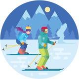 Karikaturskifahrer in der Gebirgsvektorillustration Skifahrensportlercharaktere in der Bewegung in den Skianzügen Lächelnde Männe Stockbild