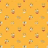 Karikatursmileymuster Stellen komische Karikaturen Ausdrücke des lustigen verrückten Lächelnkarikaturspaßes der Gesichter glückli lizenzfreie abbildung
