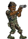 Karikatursoldat mit einer Faustfeuerwaffe Stockbild