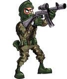 Karikatursoldat mit Gewehr und Kopfschutz Lizenzfreie Stockfotografie