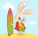 KarikaturSommerferienhintergrund mit Kaninchensurfer Auch im corel abgehobenen Betrag Stockfoto