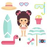 Karikatursommermädchen in einem Badeanzug mit Sommerelementvektor lizenzfreie abbildung