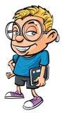 Karikatursonderling, der einen Tablettecomputer anhält Lizenzfreie Stockfotos
