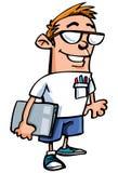 Karikatursonderling mit Gläsern Stockfotografie