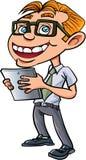 Karikatursonderling mit Gläsern und einem amrtphone Stockfoto