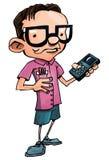 Karikatursonderling mit Gläsern und einem smartphone Stockfotografie