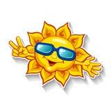 Karikatursonne in der Sonnenbrille, die Siegeszeichen mit den Fingern zeigt Stockfotos