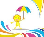 Karikatursonne, die unter einem Regenschirm steht vektor abbildung