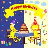 Karikatursonne und -mond feiern einen Geburtstag lizenzfreie abbildung