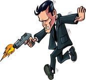 Karikaturspion, der mit seinem Gewehr läuft Stockbilder