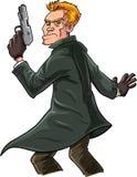 Karikaturspion mit einem Gewehr, das über seiner Schulter schaut Stockbilder