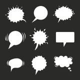 Karikaturspracheballonsammlung auf Tafel Weinlese bewölkt Sammlungsskizze Vektorillustration für Ihr Netz Stockfotos