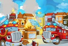 Karikaturstadium mit Feuerwehrmann und Löschfahrzeug nahe brennender errichtender bunter Szene lizenzfreies stockfoto