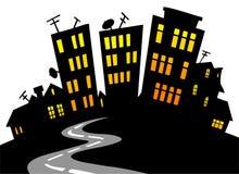 Karikaturstadt-Skyline Stockfotografie