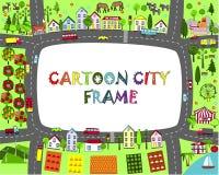 Karikaturstadtrahmen Zeichnen Sie Landschaft mit Städten, Bergen, Straßen, Meer, See, Wald und Bergen auf Platz für Beispieltext Lizenzfreie Stockfotografie