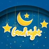 Karikaturstern und -mond, die gute Nacht wünschen Vektorhintergrund EPS1 Stockbilder