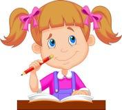 Karikaturstudieren des kleinen Mädchens Lizenzfreies Stockbild