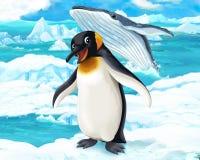 Karikaturszene - arktische Tiere - Pinguin und Wal Lizenzfreies Stockbild