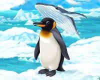 Karikaturszene - arktische Tiere - Pinguin und Wal Lizenzfreie Stockfotografie