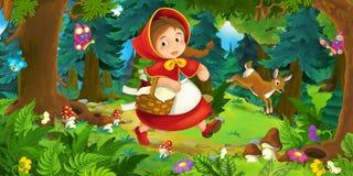 Karikaturszene auf einem glücklichen Mädchen, das durch den Wald geht Stockbild