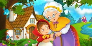 Karikaturszene auf einer Enkelin und ihrer Großmutter, die das alte Haus nahe dem Wald bereitstehen Stockbilder