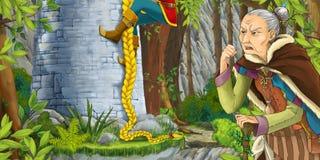 Karikaturszene einer alten Frau, die wie ein Adlig aufpasst, klettert auf dem Turm Lizenzfreie Stockfotos