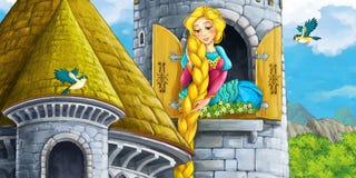 Karikaturszene einer Prinzessin - Mädchen - sitzend im Fenster Stockbilder
