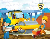 Karikaturszene mit Arbeitskräften auf Baustelle - Erbauer, die verschiedene Sachen tun stockbilder