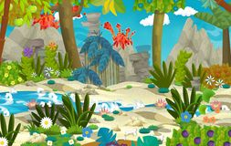 Karikaturszene mit dem Dschungel nahe dem Fluss und Vulkan im Hintergrund