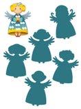 Karikaturszene mit Engeln - Finden des rechten Schattens Lizenzfreie Stockbilder