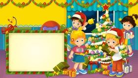 Karikaturszene mit Jungen und Mädchen in einem Raum voll von den Geschenken vektor abbildung