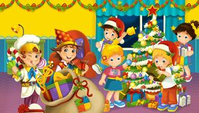 Karikaturszene mit Jungen und Mädchen in einem Raum voll von den Geschenken lizenzfreie abbildung