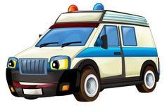 Karikaturszene mit Krankenwagen-LKW auf weißem Hintergrund Stockfotos