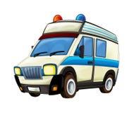 Karikaturszene mit Krankenwagen-LKW auf weißem Hintergrund Stockfotografie