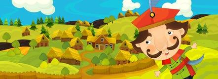 Karikaturszene mit Landwirt nahe dem Bauernhofdorf lizenzfreie abbildung