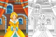 Karikaturszene mit schöner Prinzessin, die aus das Schloss - schönes manga Mädchen herauskommt Stockfotos