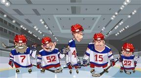 Karikaturteam mit fünf lustigen Hockeyspielern auf dem Eis Stockbilder
