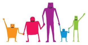 Karikaturteamwork, die Hände/die glückliche Zusammenarbeit hält Stockbilder