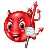 Karikaturteufel Emoticon mit dem Dreizack lokalisiert auf weißem Hintergrund Lizenzfreies Stockfoto