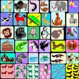Karikaturtiere des Alphabetes Stockbild