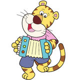 Karikatur-Tiger, der ein Akkordeon spielt lizenzfreie abbildung