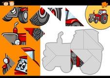 Karikaturtraktor-Laubsägenrätselspiel Lizenzfreies Stockfoto