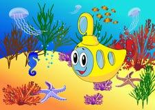 Karikaturunterseeboot im Ozean Stockfotos