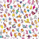 Karikaturvögel Muster Stockfotos