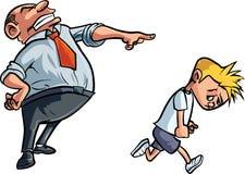 Karikaturvater, der unglücklichen Jungen schilt Stockbild