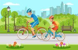 Karikaturvater mit Sohnreiten auf Fahrrädern im Park vektor abbildung
