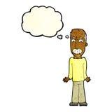 Karikaturvati, der Schultern mit Gedankenblase zuckt Stockfotos