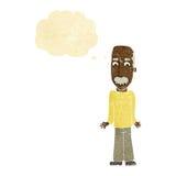 Karikaturvati, der Schultern mit Gedankenblase zuckt Lizenzfreies Stockfoto